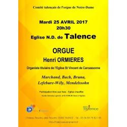 Concert d'Orgue à l'Eglise 25/04/2017